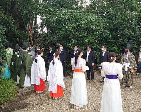 8/21(土)あま市萱津神社で香乃物祭神事に出席。